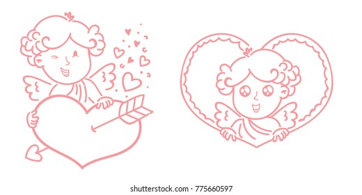 Cute outline Cupid baby character with wings, hearts, bow and arrows. Pink romantic hand drawn love illustration art in cartoon, doodle style for Valentine Day: for print, greeting card, poster