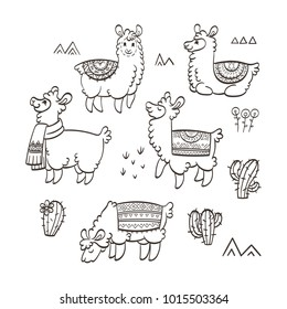 Cute outline llamas. Ink vector illustration. For children and coloring books. Furry animals collection