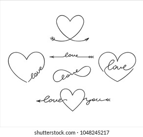 Cute outlined tatoo lettering with romantic words about love and hearts shapes, arrow, infinity symbol.