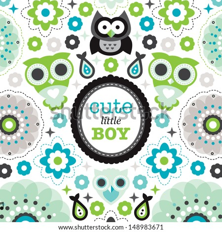cute owl bird illustration baby boy stock vector royalty free