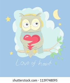 Cute owl cartoon hug red heart on the tree at night. Hand drawn style