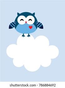cute owl cartoon message card vector