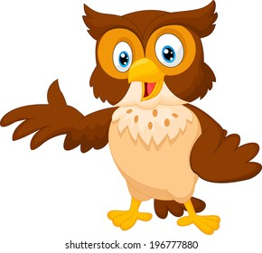 Owl cartoon images stock photos vectors shutterstock cute owl cartoon waving voltagebd Images
