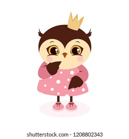 cute owl in crown and dress on white background, greeting card with pretty bird, owl princess