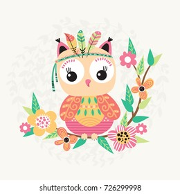 Cute owl with feather on a branch with flowers. Children illustration in vector.