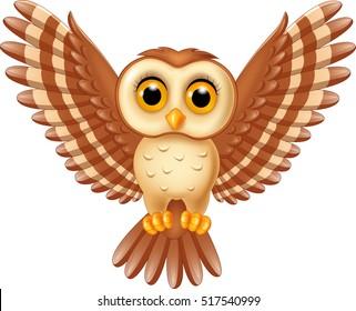Cute owl flying