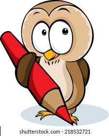 cute owl hold pencil cartoon - vector illustration isolated on white background