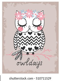 cute owl illustration print for t shirt