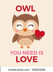 Cute owl illustration for valentine's day card template