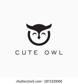 Cute owl logo design premium vector