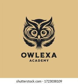cute owl logo design vector illustration