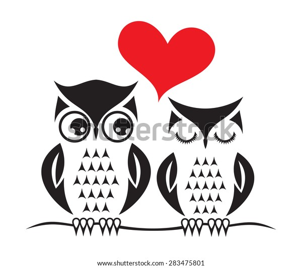 Cute Owl Love Card Template Stock Vector (Royalty Free ...