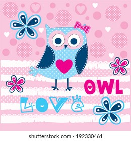 cute owl love card vector illustration