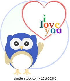Cute owl with love heart