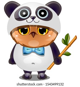 Cute owl in a Panda suit with a blue bow tie and a sprig of bamboo isolated on a white background. Vector cartoon close-up illustration