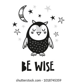 Cute owl poster for baby room, greeting card, print on the wall, pillow, decoration kids interior, baby wear and t-shirts