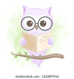 Cute owl reading a book, hand drawn cartoon illustration on green watercolor