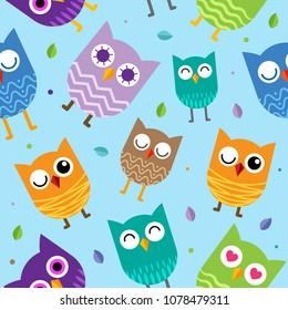 Cute Owl Seamless Pattern background design