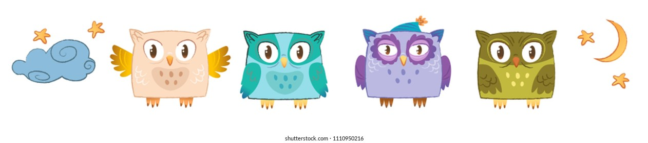 Cute owl set. Vector illustration