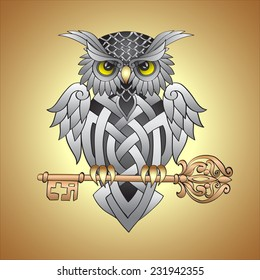 Cute owl silver Celtic patterns sits on vintage openwork key and protects it