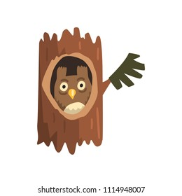 Cute owl sitting in hollow of tree, hollowed out old tree and cute animal cartoon character inside vector Illustration on a white background