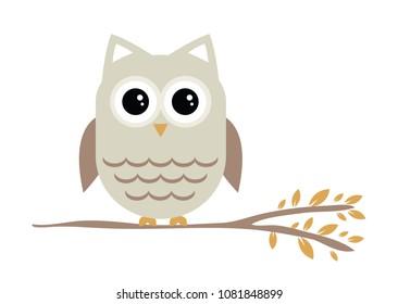 Cute owl sitting on a branch