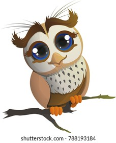 Cute Owl Sitting on the Branch