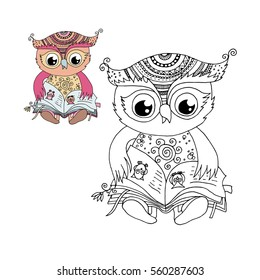 Cute owl is sitting and reading the book. Black and white, colorful image for coloring book. Isolated vector illustration on white background.