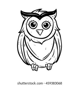 Cute owl with using doodle art or hand drawing style