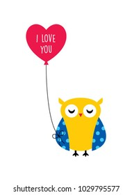 cute owl valentine greeting with balloon