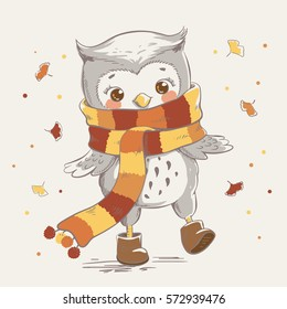 Cute owl wearing a scarf cartoon hand drawn vector illustration. Can be used for t-shirt print, kids wear fashion design, baby shower invitation card.