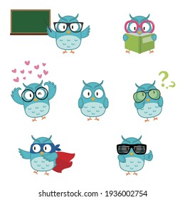 Cute owl wearing various glasses