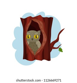 Cute owlet sitting in hollow of tree, hollowed out old tree and owl inside vector Illustration on a white background
