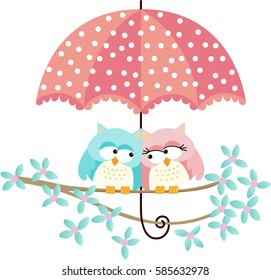 Cute owls couple under umbrella