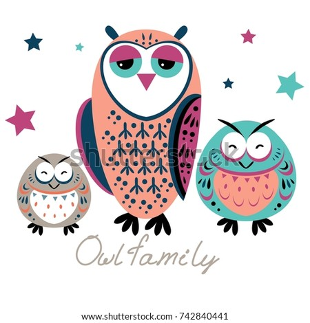 cute owls family on isolated background good for christmas new year greetings