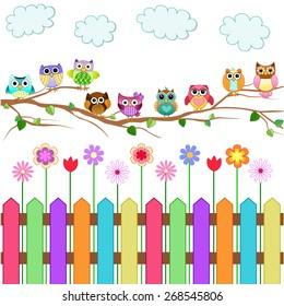 Cute Owls on a Branch