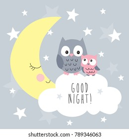 cute owls on the clouds vector illustration