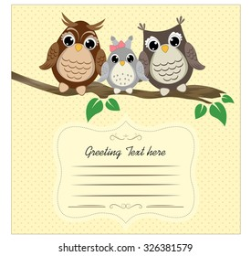 Cute owls on a tree branch with space for text. Template of greeting card and book cover design. Vector background with family of owls on the branch.