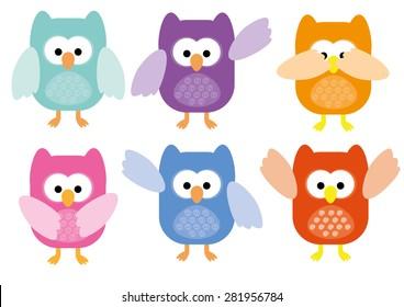 Cute Owls Package Vector