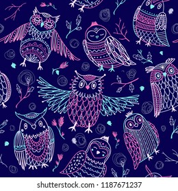 Cute owls seamless pattern in boho style with ornaments. Can be printed and used as wrapping paper, wallpaper, textile, fabric, etc.