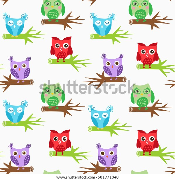 Cute owls seamless pattern, bright colors birds on white background. Child vector illustration can be used for web, print, textile design