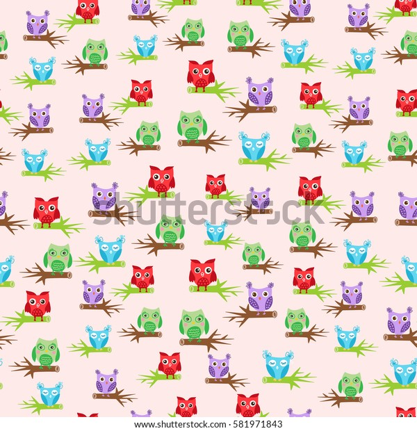 Cute owls seamless pattern, bright colors birds on pink background. Child vector illustration can be used for web, print, textile design