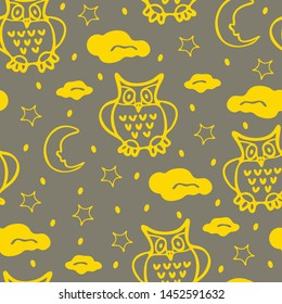 Cute owls seamless pattern in simple style with ornaments. Can be printed and used as wrapping paper, wallpaper, textile, fabric, etc. Bright yellow wallpaper