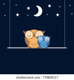 Cute Owls Sleeping on a Swing. Starry Night. Good Night Concept. Flat Design Style. Vector Illustration