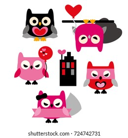 Cute owls vector in pink, red, and black