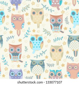 Cute owls vector seamless pattern.
