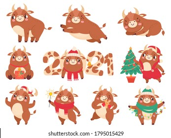 Cute ox. Color bulls chinese new year 2021 symbol, animals with horns, cows and buffalo family calendar or cards, cartoon vector set. Animal bull 2021, cow chinese year, oriental cattle illustration