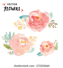 Cute Painted Vector Watercolor Flowers.