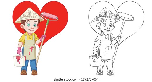 Cute painter drawing heart on the wall. Coloring page and colorful clipart character. Cartoon design for t shirt print, icon, logo, label, patch or sticker. Vector illustration.