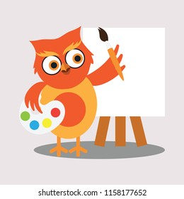 cute painter owl holding color palette and brush for art concept. vector illustration